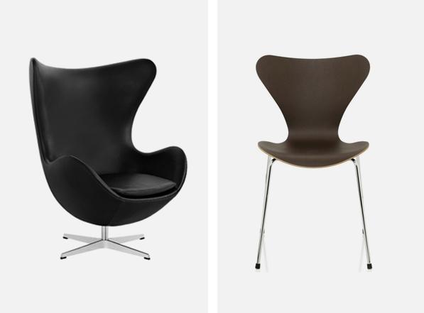 La chaise série 7 et le fauteuil œuf inventés par Arne Jacobsen