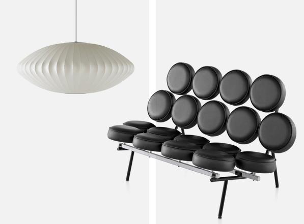 Le célèbre Marshmallow sofa et la lampe bubble sont des créations du designer George Nelson